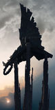 Statue in silhouette concept. Black statue balanced on three spires in silhouette against a clear blue sky royalty free stock photo