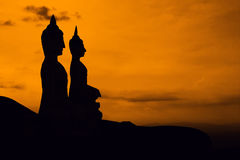 Statue silhouette on mountain Royalty Free Stock Photo
