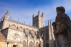 Statue silhouette in Roman baths, Bath, UK. Ancient stone statue silhouette in Roman baths, Bath, Somerset, UK Stock Photos
