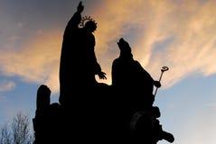 Statue silhouettes - Prague, Czech Republic Stock Images