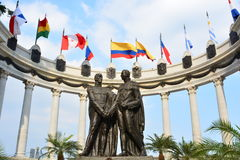 Statue of Simón Bolivar and San Martin de los Andes in Guayaquil, Ecuador. Statue representing the encounter of the two south american heroes: Simón stock photo