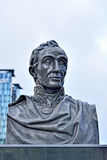 Statue of Simon Bolivar on front of North Railway Station in Brussels Stock Photos