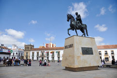 Statue of Simon Bolivar in Tunja, Boyaca, Colombia.  royalty free stock photo