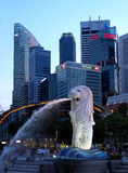 Statue of Singapore. Merlion- statue of a combination of Leo and Pisces, the national symbol of Singapore squirting water at Merlion Park royalty free stock photos