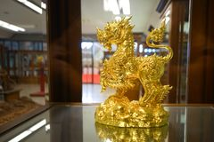 Statue of singha golden. In thailand royalty free stock image