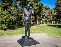Statue of sir Edward weary Dunlop within the Kings domain park in Melbourne Vic Australia. Statue of sir Edward weary Dunlop within the Kings domain park in stock images