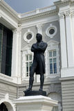 Statue of Sir Tomas Stamford Raffle. SINGAPORE- 21 JULY 2017: View of Statue of Sir Tomas Stamford Raffles - best known for his founding of the city of Singapore Stock Images