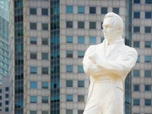 Tomas Stamford Raffles monument, Singapore. Statue of Sir Tomas Stamford Raffles - the founder of the city of Singapore Stock Images
