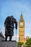 Statue of Sir Winston Churchill, Parliament Square, London Stock Photo