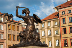 Statue of Siren, Warsaw old town (city symbol) stock image