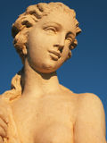 Statue with sky background. Female statue with a blue sky background royalty free stock photo