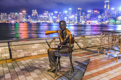 Statue and skyline in Avenue of Stars Royalty Free Stock Photos