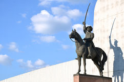 Statue of slovak national hero displayed like a fighter for his nation with sword on the horse Stock Photography