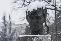 Statue in snow stock image
