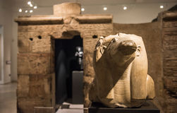 Statue of Sobek, Ancient Egypt. The Statue of Sobek, form the mortuary temple of Amenemhat III, attached to his pyramid at Hawara in the Ashmolean Museum on Stock Images