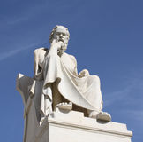 Statue of Socrates in Athens, Greece. Neoclassical statue of ancient Greek philosopher, Socrates, in front of the Academy of Athens in Greece stock photo