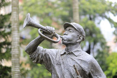 Statue of soldier blowing trumpet. When in assault, amoy city, china Stock Image