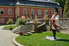 Statue of soldier at courtyard of Castle Dobris stock photography