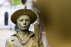 Statue of soldier standing in Recoleta Cemetery Buenos Aires stock photography