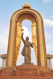 Statue of Somoni. Dushanbe, Tajikistan Stock Photos