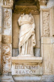 Statue of Sophia Wisdom in front of Library of Celsus,. Ephesus, Turkey Royalty Free Stock Photography