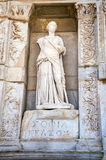 Statue of Sophia Wisdom in front of Library of Celsus,. Ephesus, Turkey stock image