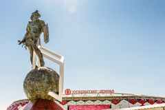 Statue of Spartacus in front of Spartak stadium, Moscow stock image