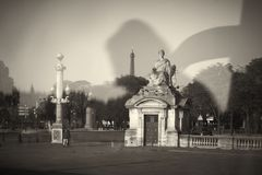 Statue. Square travel window Paris Royalty Free Stock Photo