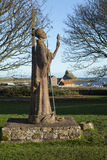 Statue of St Aidan on Holy Island, Lindisfarne, No Royalty Free Stock Photography