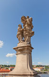 Statue of St. Anne (mother of the Virgin Mary) on Charles Bridge Royalty Free Stock Images