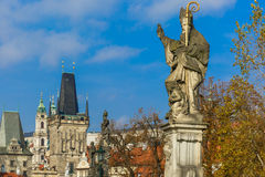 Statue of St. Augustine, Prague, Czech Republic Stock Photos