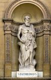 Churches of Malta - Mosta Rotunda. Statue of St Bartholomew, one of the Twelve Apostles of Jesus, in the niche of the church of St Mary dedicated to the Stock Photos