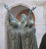 Statue of St Benedict. This statue depicts the dying moments in the life of St Benedict at Monte Cassino. Photo taken April 2015 royalty free stock image