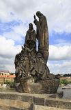 Statue of St. Cyril and St. Methodius. Charles Bridge in Prague. Stock Photo
