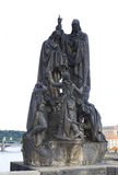 Statue of St. Cyril and St. Methodius. Charles Bridge Stock Photo