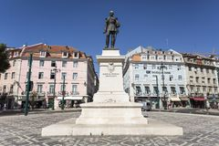 Lisbon Duque da Terceira Square. Statue of 1st Duque of Terceira in the little square of the same name near Cais do Sodre Train Station in Lisbon, Portugal royalty free stock photo
