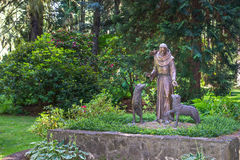 Statue of St. Francis. St. Francis of Assisi patron of animals and natural environment royalty free stock photo