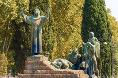 Statue of St Francis of Assisi in Rome, Italy. Stock Images