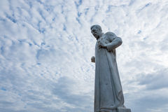 Statue of St. Francis Xavier in front of the ruins of St. Paul's royalty free stock photography