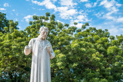 Statue of St. Francis Xavier in front of the ruins of St Paul`s Church.Malacca. stock photo