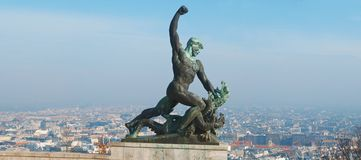 Statue of St George the Dregon Killer on Gellert hill in Budapest  capital Hungary Stock Images