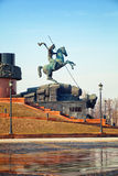 Statue of St. George on Poklonnaya Hill. In Moscow Stock Images