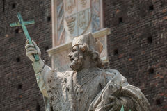 Statue of St. Giovanni Nepocedemo in Courtyard of Castello Sforz Stock Image
