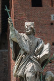 Statue of St. Giovanni Nepocedemo in Courtyard of Castello Sforz Stock Photos