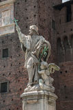 Statue of St. Giovanni Nepocedemo in Courtyard of Castello Sforz Royalty Free Stock Photos