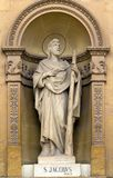 Churches of Malta - Mosta Rotunda. Statue of St James, one of the Twelve Apostles of Jesus, in the niche of the church of St Mary dedicated to the Assumption of Royalty Free Stock Photos