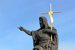 Statue of St. John the Baptist, the sculpture of Charles Bridge in Prague, Czech Republic Stock Photo