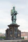 Statue of St. John of Nepomuk, Charles bridge, Prague. Czech Republic Stock Photos