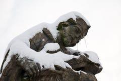 Statue of St. John of Nepomuk in winter Stock Image