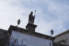 Statue of St. John on the North Town Gate of old Tro Stock Photos